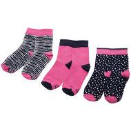 Ewers 3 paar meisjessokken roze en navy